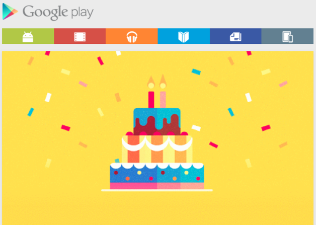 Google Play celebrates its second birthday with deals and freebie section for UK