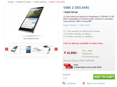 Lenovo Vibe Z listed on Lenovo store